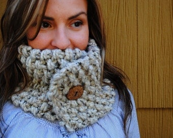 Chunky Knit Neckwarmer Cowl with Button - Oatmeal (beige/tan with brown & black flecks)
