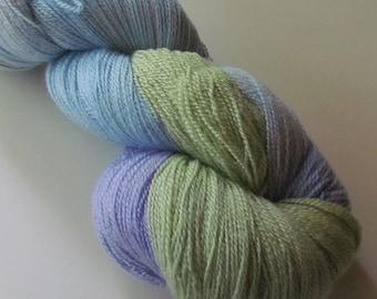 BUTTER Superwash yarn merino silk lace, Andrea Blue