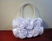 SALE-  Bouquet of Roses Small Handbag in Periwinkle White