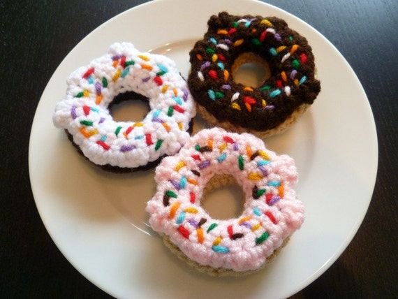 Mini Donuts with Rainbow Sprinkles - set of three crocheted cat toys
