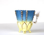 Vintage Ceramic Cup, Blue, Yellow