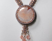 Fire Agate in Lilac and Peach Handmade Beadwoven Necklace