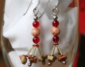 Pink Moonstone Beaded Earrings with Unakite and Red