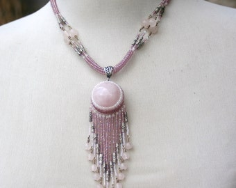 Rose Quartz Sphere Necklace with Lavender AB and White seed beads, accented with Sterling Silver