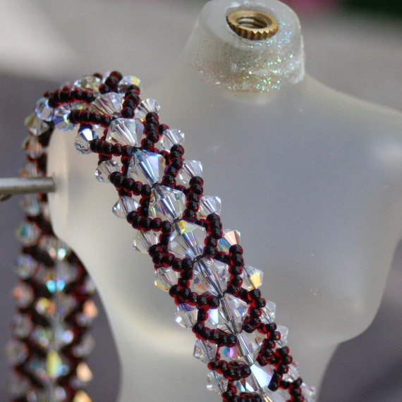 Swarovski Crystal Elements AB Collar with Black-lined Red seed beads and Sterling Silver