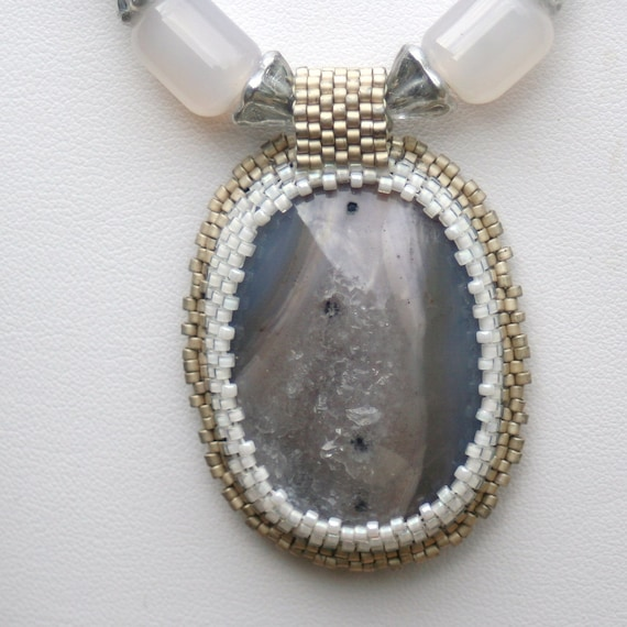 Botswana Agate Cabochon with Druzy, Milky Quartz and seed beadwoven Necklace - OOAK