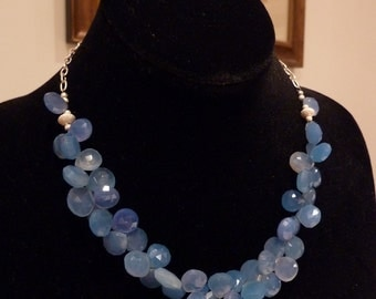 Cornflower Blue Chalcedony Necklace
