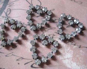 Vintage Rhinestone Heart Charm Swarovski lot of 4