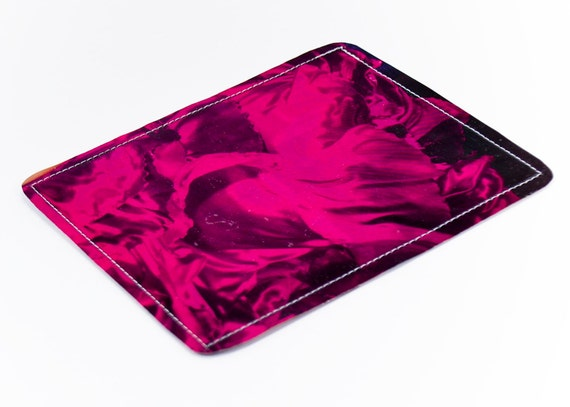 Magenta Ruffles wallet Recycled Paper with Ruffled Pink Fabric