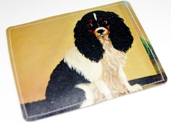 Cavalier Dog Wallet Recycled Paper with Painting of Cavalier King Charles Spaniel
