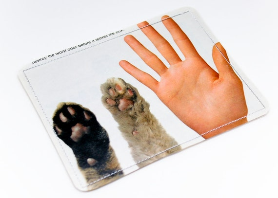 Paw and Hand Wallet Recycled Paper with Cat Paws and Human Hand