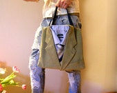 CHRISTMAS SALE - PANAMA - 100% Recycled Upcycled Suit Tote Bag