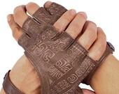 Leather Fingerless Gloves - Fingerless Gloves - Riding Gloves - Driving Gloves - Fingerless Leather Gloves  - Brown Leather Gloves