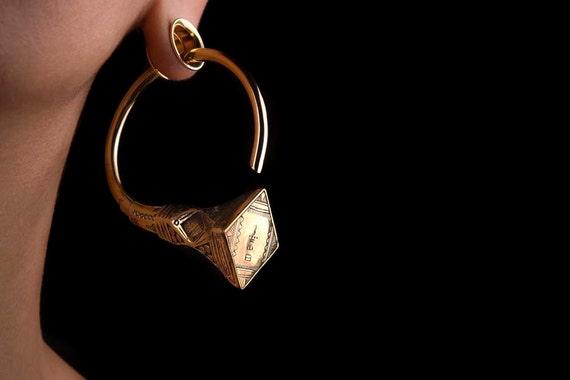 Tribal Ear Weights - Tuareg Earrings - Tribal Hanging Weights - Brass Weights Hoop