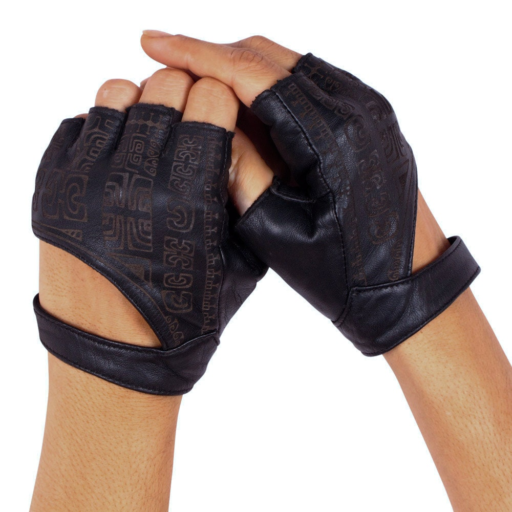 Black Leather Fingerless Gloves Leather Gloves by ...