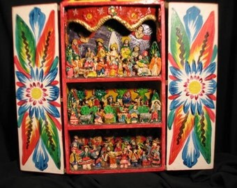HOLD - ON LAYAWAY for Comstance - Vintage Latin American Folk Art Nativity Large Hand-Crafted Retablo, Creche, Nativity, Hand made in Peru.