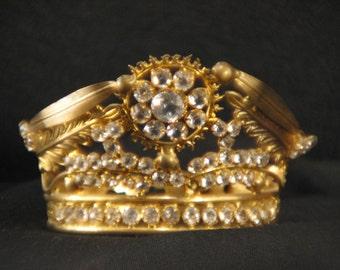 19thC Antique French Petite Gilt Jeweled, Tiara, Saint, Santos, Crown / Church Altar Crown / Religious Collectible.