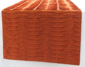 rust orange table runner 60 inch textured pleated custom made - comfyheaventabledeco