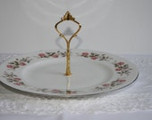 Vintage Mayfair pretty pink flowers 1 tier china cake stand with gold trim