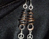 Coiled Copper and Sterling Silver Peace Sign earrings