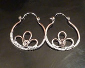Copper flower hoop earrings wrapped with sterling silver