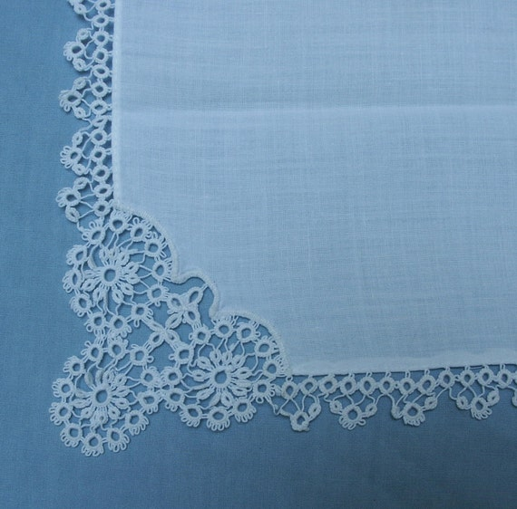 Beautiful White Cotton Hankie with Tatting
