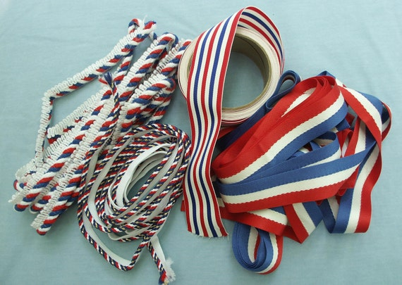Assortment of Red White and Blue Vintage Trims