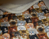 CAT sack  Kitten fabric with sherpa faux fur  lining