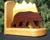 Bookends: The Bear and The Mountains Sculpted Wood Art