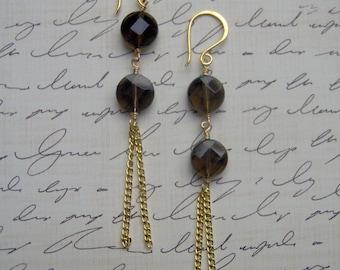 Smoky Quartz Faceted Coin Bead Chain Dangle Earrings (E1037)