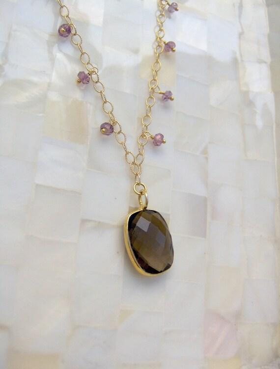 Faceted Smoky Quartz Bezel Vermeil Pendant & Pink Quartz Rondelle Gold Chain Necklace