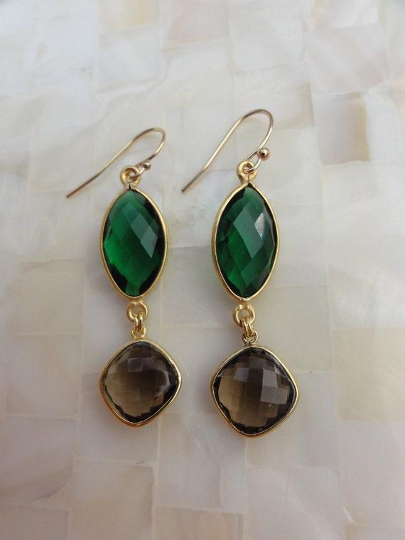 Vivid Emerald Green Quartz Vermeil Bezel Connectors & Smoky Quartz Dangle Earrings