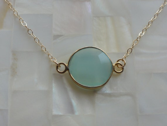 Faceted Blue Chalcedony Vermeil Bezel Coin Connector Gold Chain Necklace