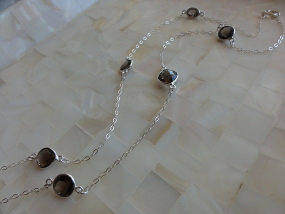 Smoky Quartz Sterling Silver Bezel Multi-Connector Station Sterling Silver Chain Necklace