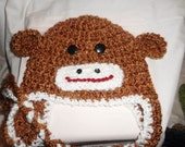 Tan Monkey Hat, adorable hat with ear flaps caramel