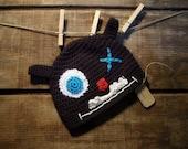 Crochet Monster Hat, childs crochet beanie