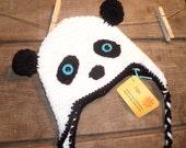 Panda Crochet Hat  with blue eyes, Baby Panda Hat, Child Panda Hat Teen/Adult