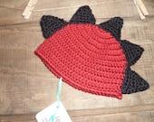 Dinosaur Mohawk Red and Black Crochet Hat