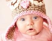 Owl Owlette Hat in beige and pink crochet-Sleeping Owl EarflapsNewborn, Baby, Toddler, Child, Teen/Adult Crochet Hat