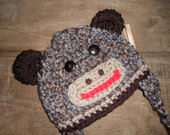 Monkey Varigated Crochet Hat Sock Monkey Textured Button Eyes Earflaps Baby Toddler Child Teen Adult
