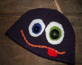 Monster Beanie Crochet Funny Face Purple Google Eyes Crochet Hat, Child Teen Adult Custom Orders