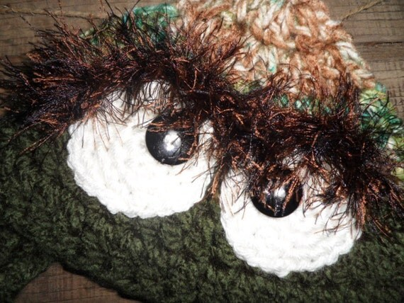 Monster Hat, Grouchy Monster, Forest Green/Woodland Varigated Monster Furry Eyebrows Black Button Eyes