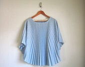 vtg 70s accordian pleated BUTTERFLY glitter blouse