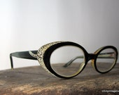 vintage 1950s // Rhinestone Black Cat Eyes Glasses