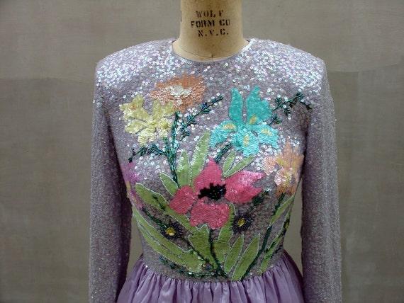 vintage 1950s Lavender INAUGURAL BALL Sequin Formal Dress