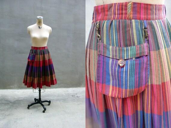 vintage 1970s // Eukont Rainbow Striped Traveler Skirt //Medium