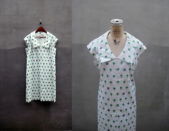 vtg 1950s shamrock Lucky Green dress xlarge