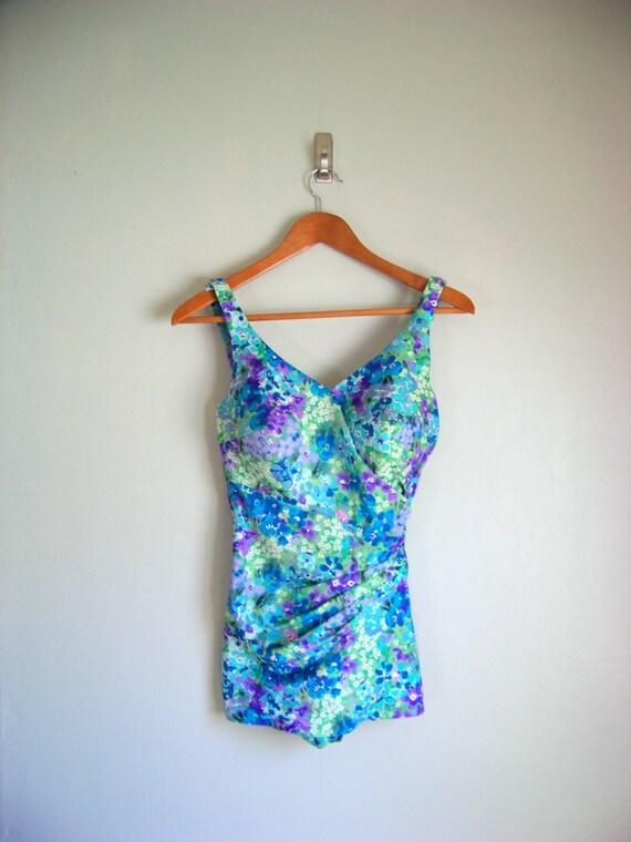 vintage 60s blue Roxanne floral bathing suit