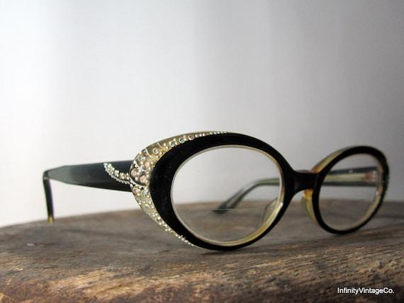 vintage 1950s // Rhinestone Black Cat Eyes Glasses