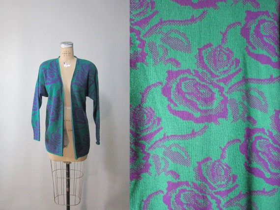 vtg 80s Sweater //  Slouchy Emerald and Lavender Rose // Medium